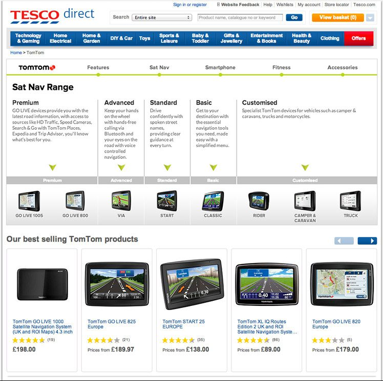 The TomTom product selector live on the Tesco Direct website.