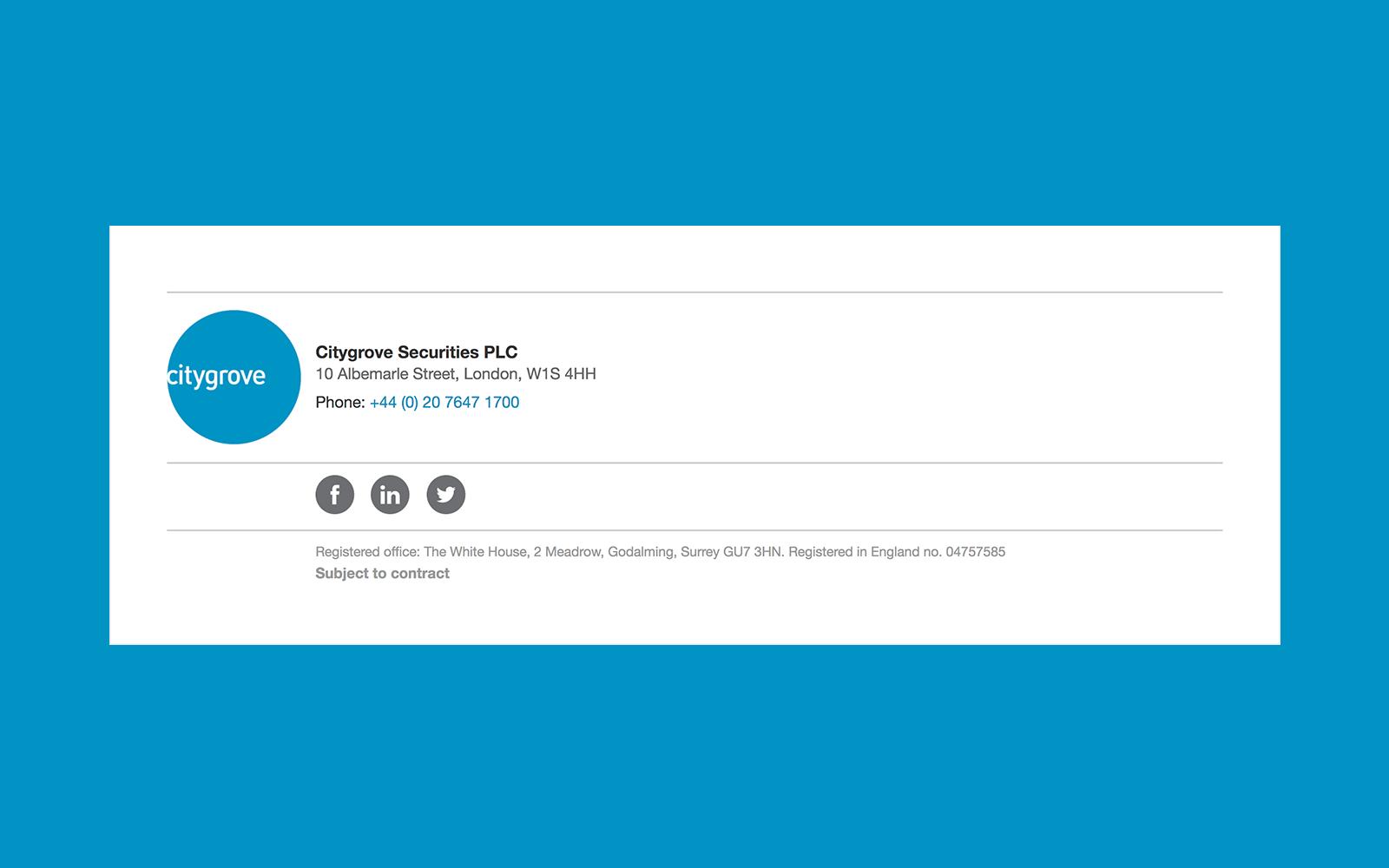 Citygrove email signature