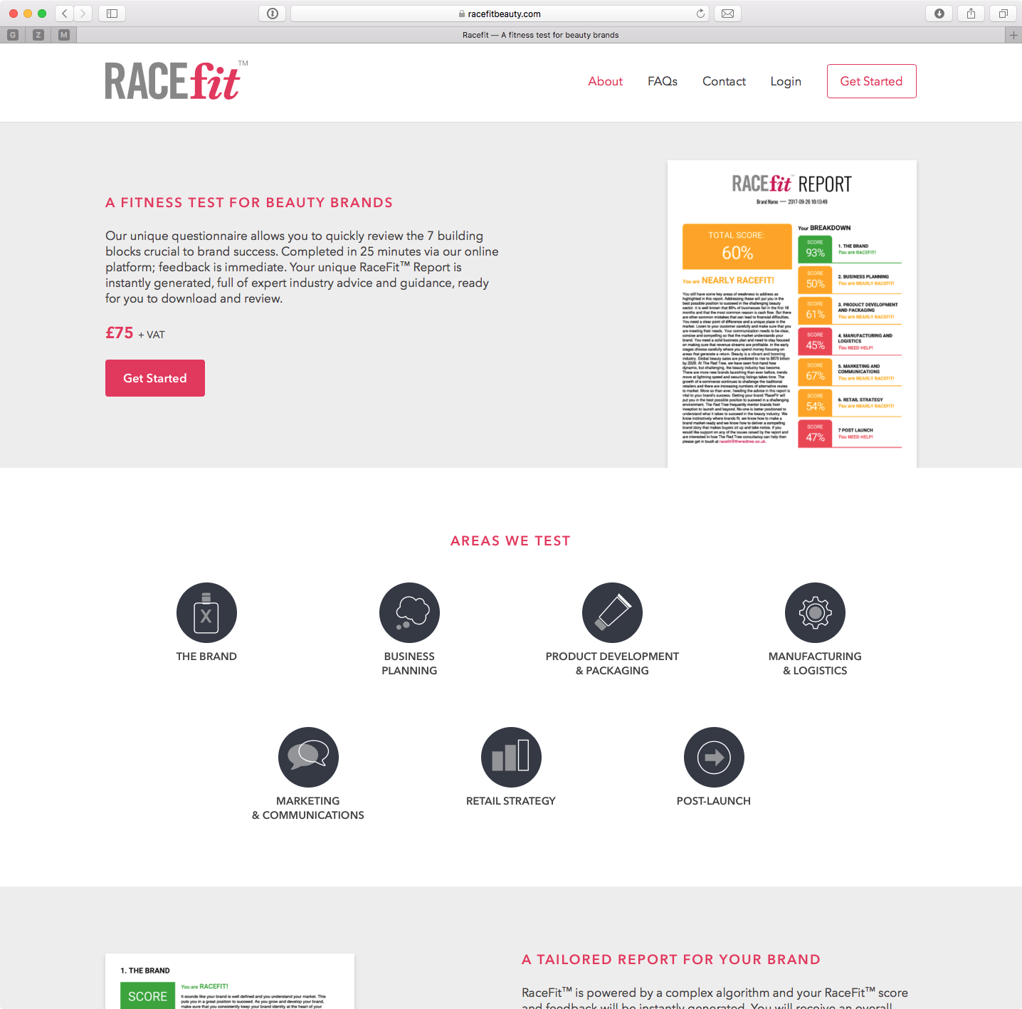 Racefit website screenshot